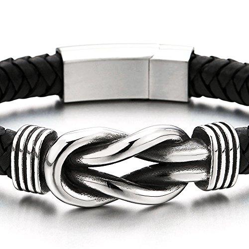 Hommes Femmes Acier Bracelets de l'amitié Noeud Nautique Marin - Tressé Envelopper Bracelet en Cuir
