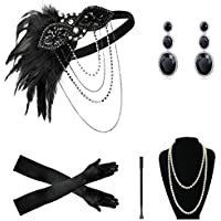 Zivyes 1920s Accessories Flapper Costume for Women Headpiece Cigarette Necklace Gloves