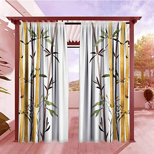 Lake Grove Satin - Rod Pocket Pattern Curtains Bamboo House Decor Bamboo Grove Calm Your Mind Slow Down Zen Relax Hand Drawn Style Artwork Darkening Thermal Insulated Blackout W84x108L Cream Brown White