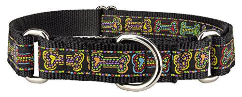 Country Brook DesignStitched Bones Woven Ribbon on Black Martingale Dog Collar Limited Edition - Extra Large