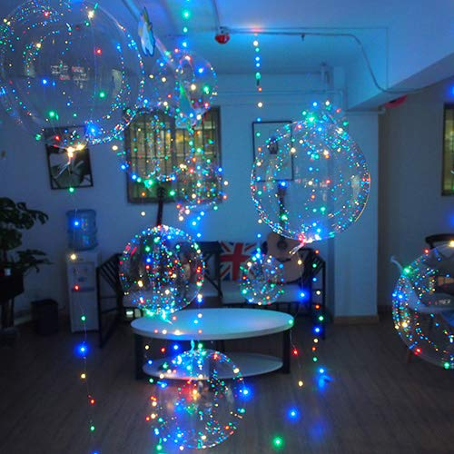 Flashing Balloons Cell Battery Led Bobo balloon, 20 Inch 12 Pack BoBo Balloon, 4 Color 3M Led Flashing light strip, 3 Mode Flashing led light up Balloons, Transparent Helium White Balloons, Birthday, Wedding Decorations Led White Balloons]()