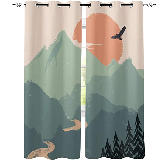 T H XHome Blackout Curtain Silver Grommet Abstract Sunrise Mountain River Eagle Landscape Patterned Fabric 2 Panels Set,Darkening Draperies Curtains