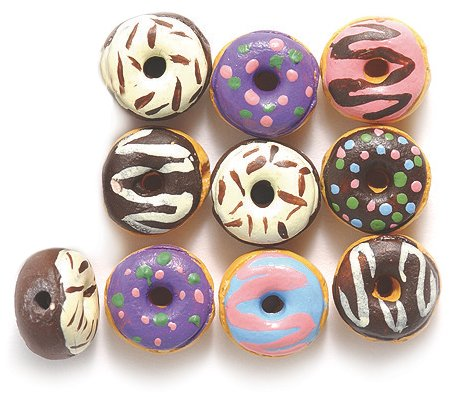 (Peruvian Hand Crafted Ceramic Tiny Donut Beads, 10mm, Assorted, 10-mm, )