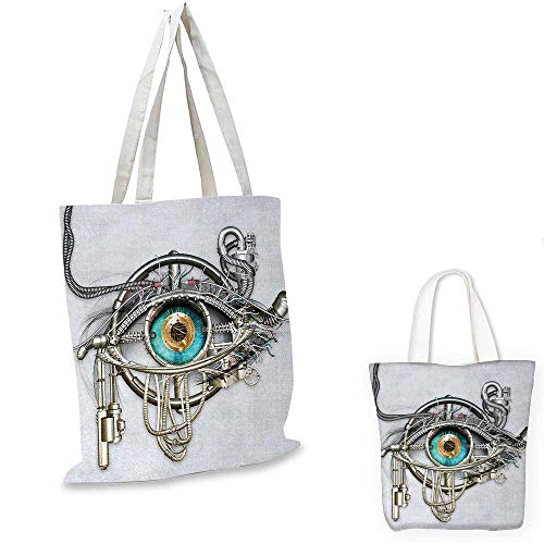 Eye canvas shoulder bag Mechanic Design of an Eye Complex Machinery with Engineering Technology Theme canvas lunch bag Grey Turquoise Gold. 12