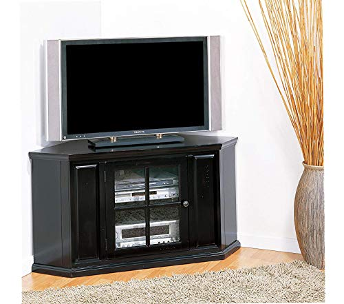 - Deluxe Premium Collection Riley Holliday Corner TV Stand 46 inchs Black Rub Decor Comfy Living Furniture