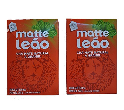 Leão - Mate Tea - Natural Matte Tea In Bulk - Toasted Mate Tea - 250g - 8.82 Oz (PACK OF 2) | Chá Matte Natural A Granel - Chá Mate Tosta