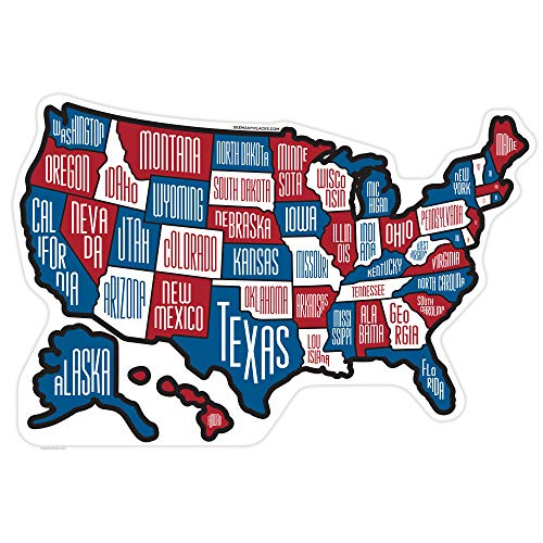 "RV State Stickers ~ Red White & Blue Camper Motor Home Travel Map, 19"" x 13"" ~ USA Map Sticker RV ~ Fun for Kids and Road Trekkers ~ Individual Stickers of each State ~ Made of Vinyl, UV Protected"