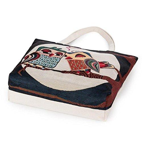 Shopping Bag Casual A Printed Tote Handbags C Women Canvas Owl Bags lovely Kolylong q5SfTxan