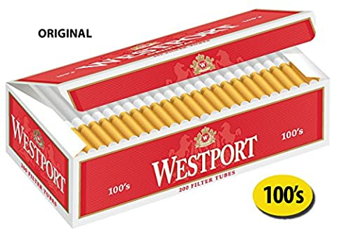 Westport 100's Filter Cigarette Tubes Original Red 10 Cartons - Tube Red Filter