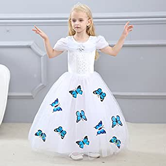 Girls Princess Dress up Party Birthday Costumes Puffy Layers with Crown, White (110cm/3-4Years)