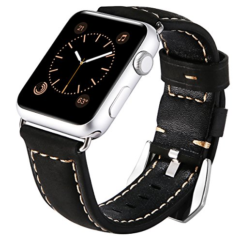 Stylish Leather Wristband Bracelet - Maxjoy for Apple Watch Band - 42mm iWatch Bands Leather Strap Replacement Smart Watch Bracelet Wristband with Stainless Steel Clasp Metal Adapter for Apple Watch Series 3/2/1 Sport Edition, Black