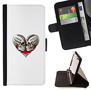 Momo Phone Case / Flip Funda de Cuero Case Cover - Skull Heart Muerte Blanca motorista Amor - Samsung Galaxy J3 GSM-J300