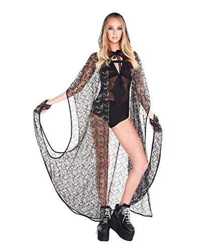 iHeartRaves Black & Gold Mystical Mage Sheer Hooded Cloak Costume Cape (One Size)