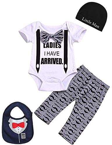 Baby Boys' Hipster Moustache Outfit Set Funny Gentleman Romper with Bib (White, 3-6 Months)]()