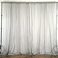 BalsaCircle 10 feet x 10 feet Sheer Voile Backdrop Drapes Curtains Panels - Silver