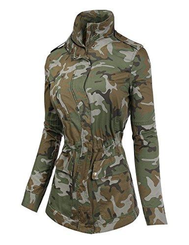 Cinched Zipper Jacket - BIADANI Women Camo Print Anorak Zipper Jacket Olive Large
