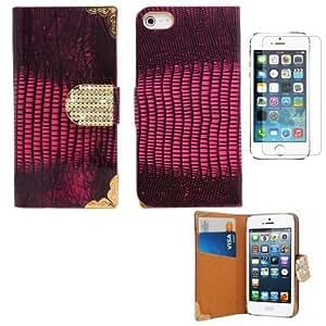 Sleek Gadgets–Funda tipo cartera de lujo y brillantes con protector de pantalla para Apple iPhone 5S
