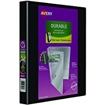 Avery Durable View 3 Ring Binder, 1 Inch, Slant D Rings, Black, 2 Pockets, 220 Sheet Capacity, PVC Free (34003)