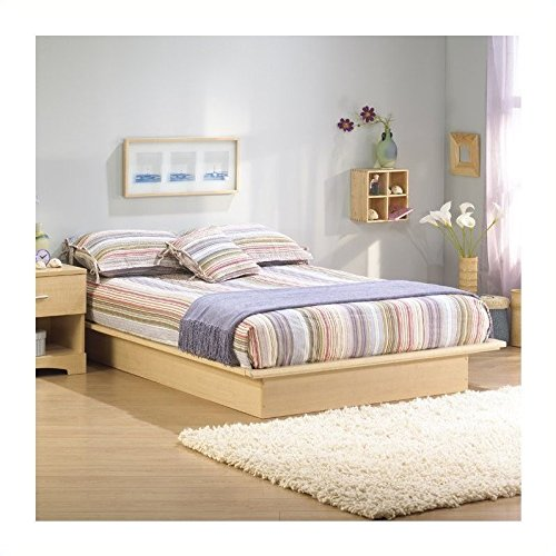 Basic Collection Platform Bed with Moulding - Queen Size - Natural Maple - Contemporary Design -  by South Shore - bedroomdesign.us