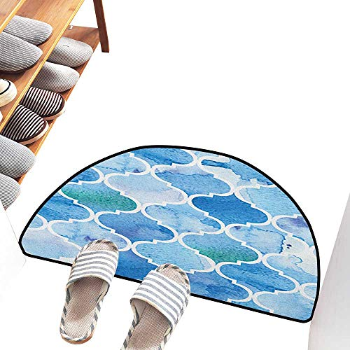 Axbkl Modern Door mat Watercolor Abstract Moroccan Trellis Geometric Pattern Curves Persian Mosaic Design Country Home Decor W24 xL16 Blue Baby Blue
