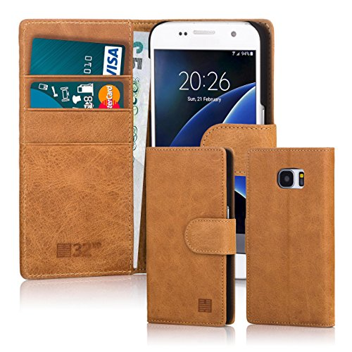 32nd Premium Leather Wallet Case for Samsung Galaxy S7, With Built-in Card Slots, Stand and Magnetic Closure - (Leather Usa Genuine Handbag)