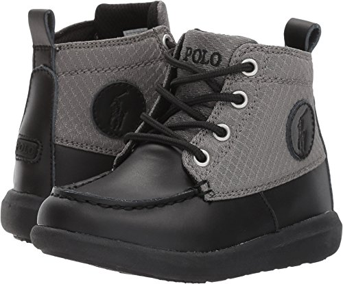 Polo Ralph Lauren Kids Boys' Ranger Sport Fashion Boot, Black Burnished Leather Grey Nylon, 9 Medium US - Boots Lauren Ralph Polo Toddler