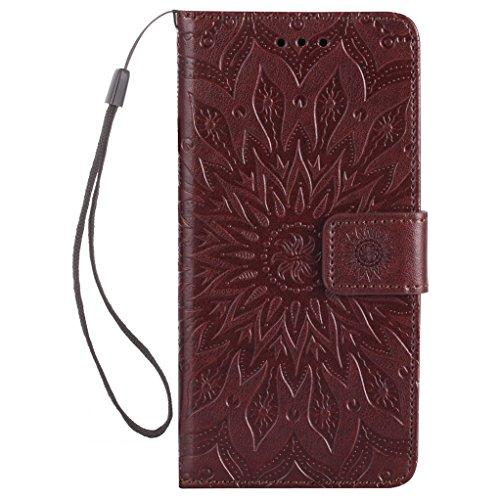 Trumpshop Smartphone Carcasa Funda Protección para Sony Xperia XZ [Rrosa] 3D Mandala PU Cuero Caja Protector Billetera Choque Absorción Marrón