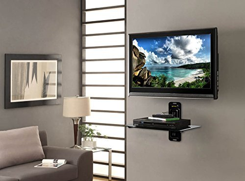 Atlantic AV Wall Mount Shelf for DVD Components, Set Top Boxes, Cable Boxes, Streaming Devices and DVRs with Black Glass Shelf