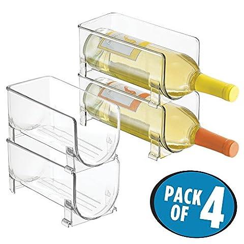 mDesign Stackable Wine Bottle Storage Rack for Kitchen Countertops, Cabinet - Holds 4 Bottles, Clear
