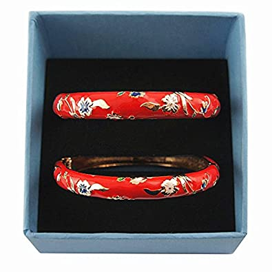 UJOY Classic Cloisonne Bracelets Enamel Jewelry Gold Plated Cuff Metal Bangle for Women Gift Box Packed 55A87