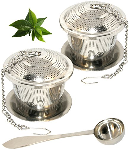 Loose Leaf Tea Infuser Set of 2 (M Sizes) + Drip Trays and Tea Scoop,Food Grade 304 Stainless Steel Strainer & Steeper can be used as Tea/Herbal/Spice Filter for Cup, Mug, Teapot