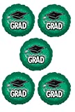 Green Round Graduation Balloons -18 inch Mylar Balloons - 5 Count