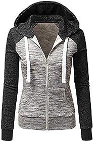 Newbestyle Hoodies for Women Color Block Hooded Sweatshirt Basic Full Zip Jersey Jacket Long Sleeve Top with P