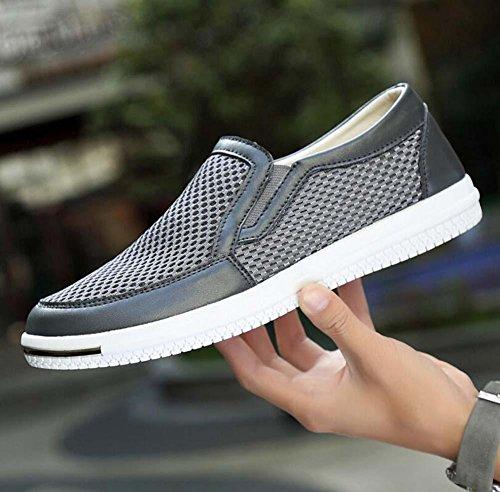 Bomba Hilado de red Hueco Zapatos casuales Ponerse Mocasín Oxford Hombres Respirable Antideslizante Zapatos perezosos Conducción Zapatos Pedal Zapatos Zapatillas de deporte Tamaño de la UE 38-46 Grey