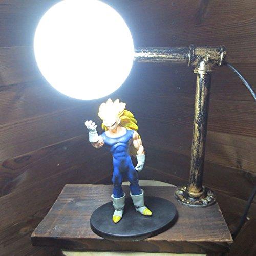 Dragon Ball Super Saiyan 3 Vegeta Genki Dama Spirit Bomb LED Table Lamp by Aurookeb