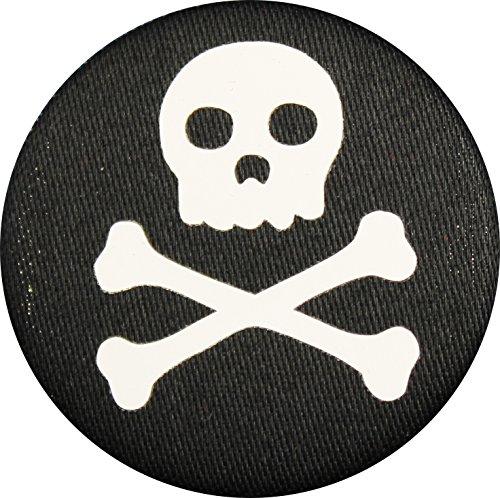 (Jolly Roger Skull and Crossbones Pirate Pin Back Button - Black Fabric, White HTV Vinyl Design - 1.5