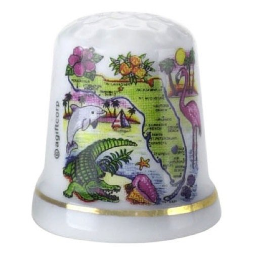 Florida State Map Sunset Porcelain Souvenir Collectible Thimble agc