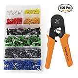 KANGORA Crimp Tool Kit Ferrule Crimper Plier Wire Stripper + 800 Connector Wire Terminal