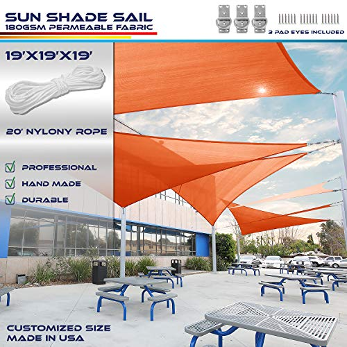 Windscreen4less 19 x 19 x 19 Sun Shade Sail Canopy in Orange with Commercial Grade 3 Year Warranty Customized Size Included Free Pad Eyes