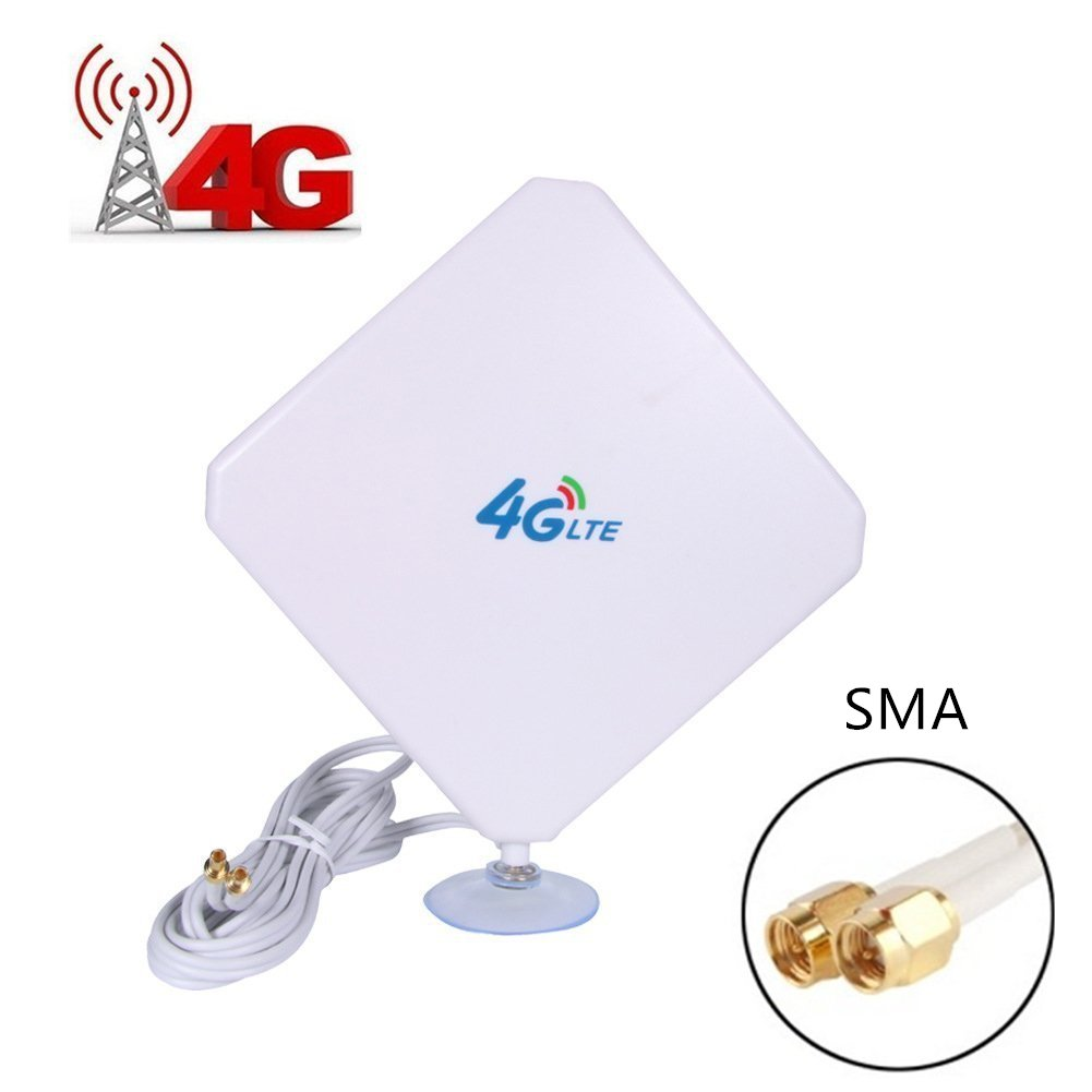 (Updated Version) AMAKE 35dBi 3G/4G LTE SMA Antenna Signal Booster High Gain Long Range Network Antenna Omni with SMA Male Cable Connector 2M for Huawei Wifi Hotspot MiFi Mobile Wide Broadband(SMA-J)