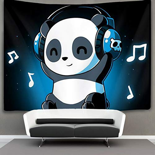 COLORFULSKY White and Black Panda Animal Headphones Music Wall Tapestry Hippie Art Tapestry Wall Hanging Home Decor Extra Large tablecloths 60 X 40 inches for Bedroom Living Room Dorm Room -