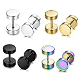 fake plugs for girls - 4 Pairs Stainless Steel Mens Womens Stud Earrings Faux Gauges Ear Cheater Plugs Tunnel 6-12mm (10mm-4pairs)