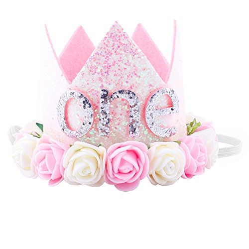 (Maticr Glitter 1/2 1st Birthday Princess Flower Crown Tiara Headband Cake Smash Photo Prop for Baby Girl (Letter One))