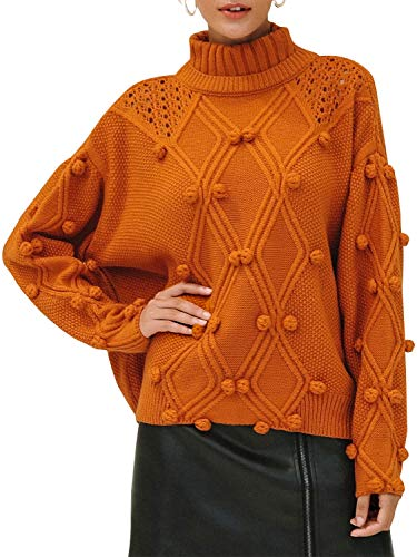 BerryGo Women's High Neck Hollow Sweater Loose Ribbed Knit Pullover Jumper Orange,One Size