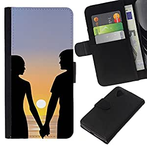 Planetar® Modelo colorido cuero carpeta tirón caso cubierta piel Holster Funda protección Para LG Google NEXUS 5 / E980 / D820 / D821 ( Sunset Couple Romance )