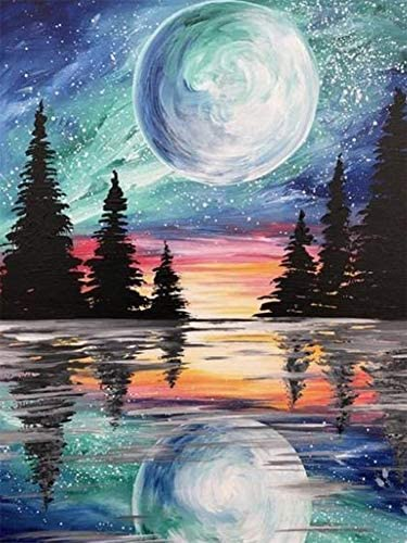 Offito Diamond Painting Kits for Adults Kids, Full Drill Crystal Diamond Art Kits, DIY 5D Diamond Painting Gift for Relaxation and Home Wall Decor Moon and Forest (12x16 Inch)