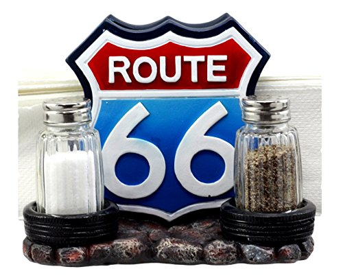 Ebros Gift Will Rogers Highway Historic US Route 66 Sign With Car Tires Salt Pepper Shakers And Table Napkin Holder Decor Figurine by Ebros Gift