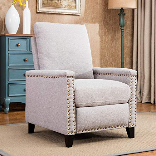 Harper&Bright Designs Fabric Recliner Club Chair Push Back Recliner with Copper Nails (Recliner Nailhead)