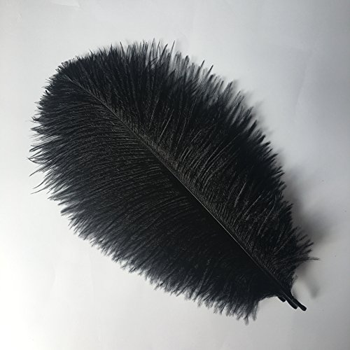 Sowder 6-8inch(15-20cm) Ostrich Feathers Plume for Wedding Centerpieces Home Decoration Pack of 10pcs(Black)