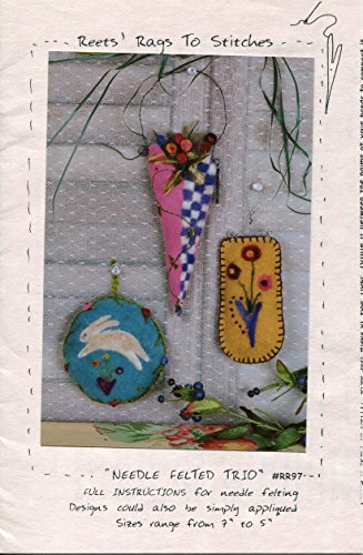 Reets' Rags To Stitches Wool Felting Pattern RR97 Needle Felted Trio ()